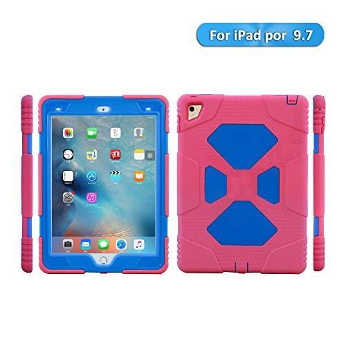 (ipad pro 9.7 2016 Hülle Silicone Kinder, ACEGUARDER Schutzhülle Case Etui Stoßfest Kratzfest Hülse Tasche mit Ständer und Displayschutz für Apple ipad pro 9.7 2016 / iPad Air 2 2014 (Rosa Blau))