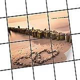creatisto Bad-Sticker, Badezimmer-Fliesen | Fliesenaufkleber Folie Sticker Küche Bad Fliesenmuster Kellerfliesen | 15x20 cm Design Motiv Beach Romance - 6 Stück