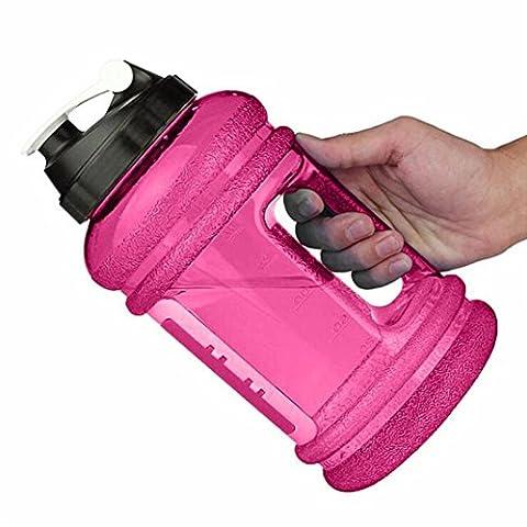 Water Jug/Bouteille d'Eau (2,2 litres) ,NPRADLA 2,2 L Gourde XXL Gym Bottle Bouteille BPA et sans DEHP libre – 2,2 l Water Bottle plastique pour fitness – La Trend Bidon à eau avec 2,2 L Volume de remplissage (Rose vif)