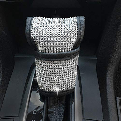 LKZJIOPS LenkradabdeckungDiamant Strass Kristall Lenkradabdeckung Auto Styling Auto Lenkradabdeckung Serie Mädchen Autozubehör, Schaltknaufabdeckung