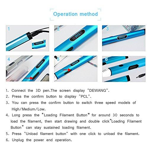 Uvistare 3D Drucker Stift Set 3D Stereoscopic Printing Pen Drawing, 3 x 3M PLA Filament ( Blau Rot Gelb ), Intelligent mit LCD-Bildschirm, Freihand 3D Zeichnungen, für Kinder Erwachsene Kunstwerken - 6