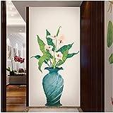 Adesivi murali fai da te Complementi arredo casa Calla Lily Vaso da fiori in vaso Cucina Finestra Vetro Bagno Soggiorno Decalcomanie Impermeabile 115 * 160 Cm