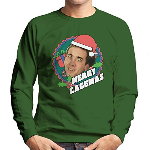 Cloud City 7 Merry Cagemas Nicolas Cage Christmas Men's Sweatshirt (Pullover Cage Nicolas)