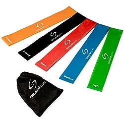 Starwood Sports ® Lot de 5 bandes élastiques d'exercice - yoga - Pilates - rééducation - homme - femme - latex naturel - garantie à vie