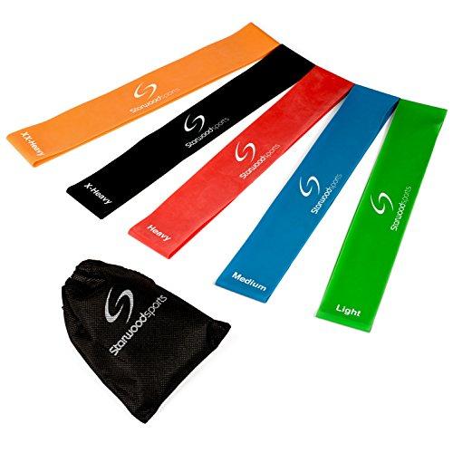 Fasce elastiche di resistenza - Set da 5 bande fitness premium allenamento - Perfette per migliorare forza e mobilità, yoga, pilates o per riabilitazione dopo un infortunio - Adatte a uomini e donne - In lattice naturale