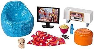 Barbie Muebles de la casa, TV y accesorios casa de muñecas (Mattel DVX46)
