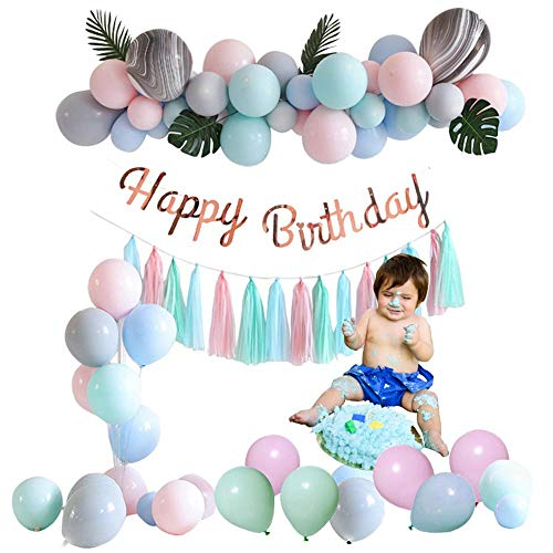 Hamkaw Geburtstags-Dekorationsset, 106-teilig, Bunte Macaron-Ballons/Sonnenblumenblatt/Quasten/Ballonkette/Happy Birthday-Banner für Party Feier Gray Pink Blue Green (Birthday 40th Party Weiß Dekorationen Schwarz Und)
