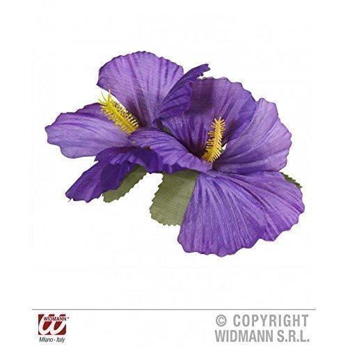 Accesorios-de-Disfraz-HAWI-Chica-Pasador-con-dos-Prpura-Flores-Flores-de-Hibiscus