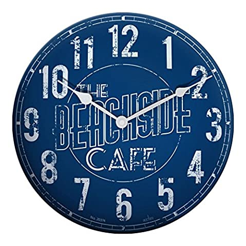Acctim Beachside Café Blue Dial Dome Tin Case Wall Clock 27759 Beach Theme(