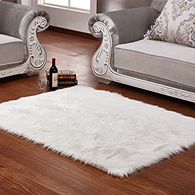 Faux Fur Rug Soft Fluffy Rug Shaggy Rugs Faux Sheepskin Rugs Floor Carpet for Bedrooms Living Room Kids Rooms Decor 60 x 90 cm - inexpensive UK light shop.