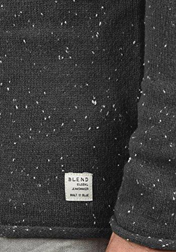 BLEND Gabrio Herren Strickpullover Feinstrick Pulli mit Nap-Yarn und Rundhals-Ausschnitt aus hochwertiger Baumwollmischung Charcoal (70818)