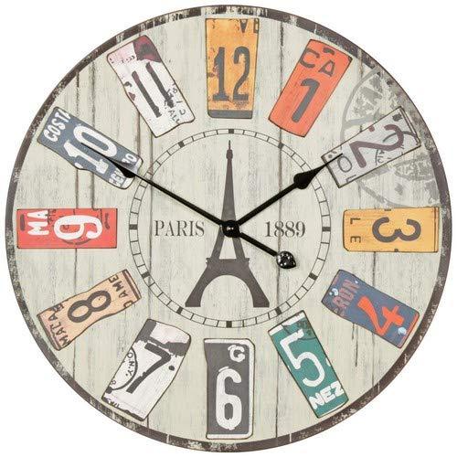 WOHNLING Deko Vintage Wanduhr XXL Ø 60 cm Paris | Materialmix Holz Metall | Große Uhr rustikal Dekouhr rund | Design:etro Küchenuhr für Küche und Wohnzimmer