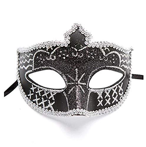Gesichtsmaske Schild Schleier Wache Bildschirm Domino falsche Front Venedig Tanzmaske weibliche Hälfte Gesicht Prinzessin Maske Make-up Party Kinder Maske schwarz,Black (Hälfte-masken, Halloween-make-up Die)