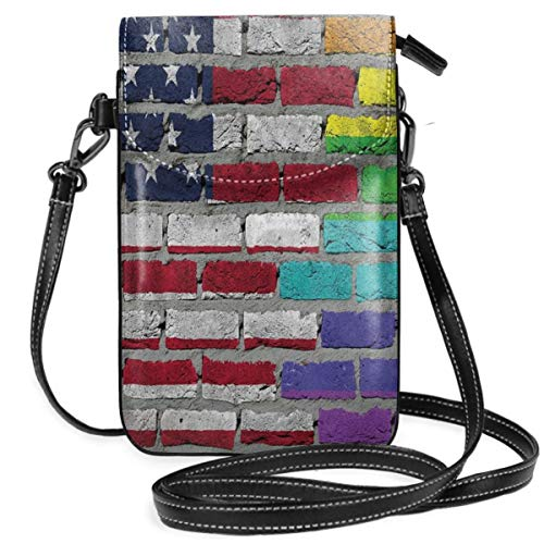 Jiger Women Small Cell Phone Purse Crossbody,Grunge Dark Brick Wall With American And Rainbow Flag Painted Together - American-flag Fish