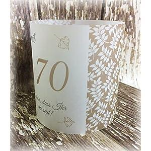 4er Set Tischlicht Tischlichter Blätter runder Geburtstag 40 50 60 70 80 90 Tischdeko personalisierbar taupe stein…