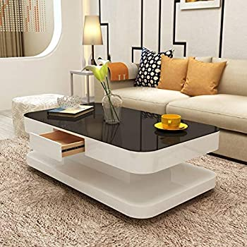 mecor Coffee Table Design Modern High Gloss White Table for Living Room  Furniture,120 x 70 x 36 cm