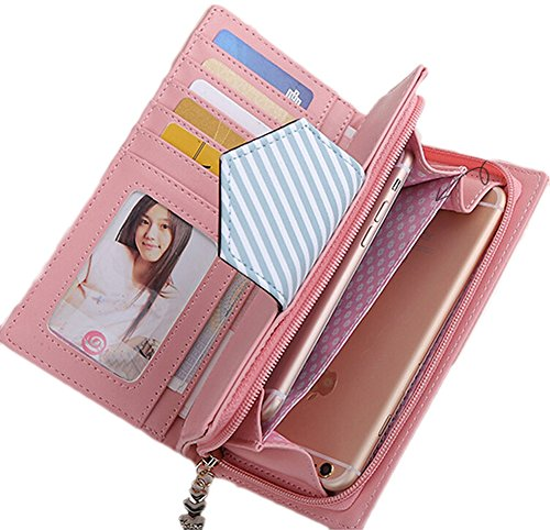 Ragazze Titolare Della Carta Della Borsa Donna Portafogli in Pelle Lungo Carta Portafoglio Borsellino Multi-Card Fessura rosa rossa
