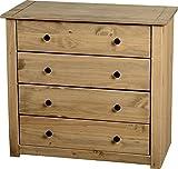 Mercers Furniture Panama 4 Schubladen Kommode, Holz, Antique Wax, 80 x 41 x 73 cm