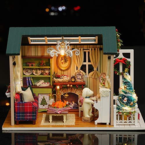 Weehey Fai da Te Christmas Miniature Dollhouse Kit Realistico Mini 3D House House Legno Craft con luci LED Mobili Giorno dei Bambini Regalo di