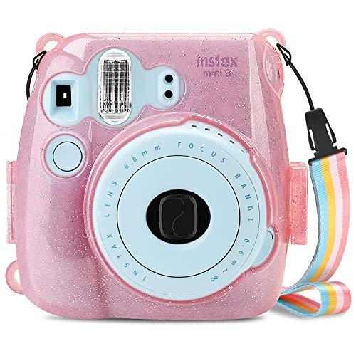 Fintie Tasche für Fujifilm Instax Mini 9 Mini 8 Mini 8+ Sofortbildkamera - Ultradünne PVC Hartschale Schutzhülle Reise Kameratasche Hülle Abdeckung mit Regenbogen abnehmbaren Riemen, SchimmerndPink