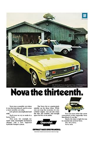 Classic and Muscle Car Ads and Car Art 1974 Chevrolet Nova Ad Digitized & Re-mastered Car Poster Print