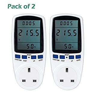 Senweit Pack of 2 Digital LCD UK Plug Power Meter Energy Monitor Wattage Voltage Electricity Analyzer Measurement Plug-in Socket Switch