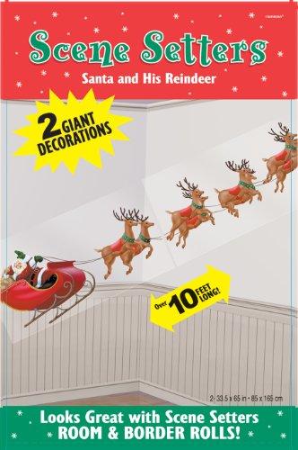 Wandtattoo: Weihnachtsmann mit Schlitten und Rentieren als weihnachtliche Wand-Dekoration