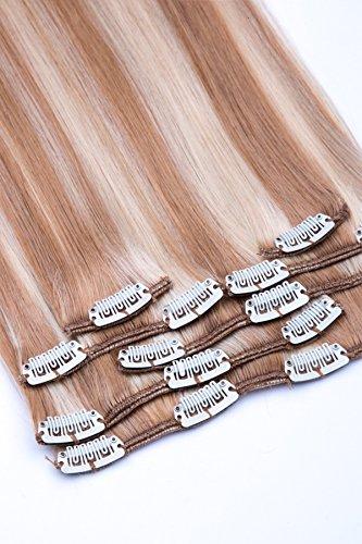 Clip In Extensions Set 100% Echthaar 7 teilig 70g Haarverlängerung 45cm Clip-In Hair Extension Nr. 18/613 Dunkelblond Blond gesträhnt