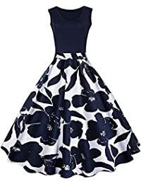 7ffab6a37def6 DressLily Women's Fit and Flare 50s 60s Midi High Waist Sleeveless Print  Vintage Swing Dress