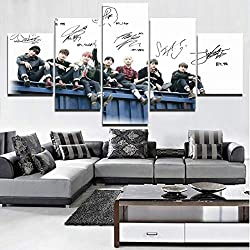 KPOP BTS Lienzo Arte de la pared 5 paneles Lienzo Impresión HD Pintura IDOL Cartel Casa de la pared Decoración de la decoración de regalo Pieza Marco listo para colgar,B,40x60x240x80x240x100x1
