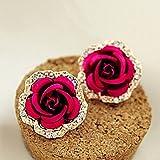 WINOMO Paar Strass Verziert Rose Blume Geformt Ohrringe (Rosig)