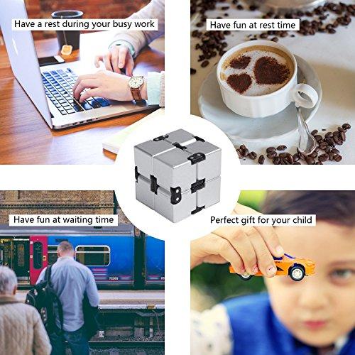 EKKONG Fidgeting di edc di novità – Fidget Cube in Stile con Il cubo Infinite Cube Infinity Cube Fidget Cubo Stress Relief e Ansia Giocattolo per Bambini e Adulti (Argento) - 6
