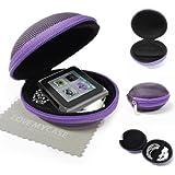 """StyleBitz / Étui """"coquillage"""" pour ranger, protéger et transporter les écouteurs de votre Apple iPod nano 6e génération, fermeture éclair, poche intérieure, extérieur ultra-résistant, avec chiffon de nettoyage conçu en exclusivité par StyleBitz (Violet)"""