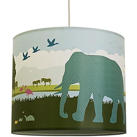 anna wand Lampenschirm HELLO AFRICA – Schirm für Kinder / Baby Lampe mit Tieren aus Afrika in versch. Farben – Sanftes Licht für Tisch-, Steh- & Hängelampe im Kinderzimmer Mädchen &