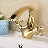 HaerSencillo y elegante, fría y caliente de oro-cobre interruptor doble mezclador de Cuenca