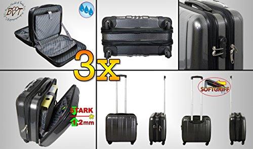 3 tlg Alu-Design Hartschalenkoffer-Koffer groß, XXL Pilotentasche / Hardcase Alu-Design HartschalenkofferMINIUM schwarz, 1x, PREMIUM XXL wetterfester Koffer...