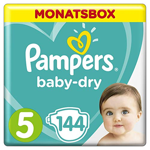 Pampers Baby-Dry Windeln, Gr. 5, 11-16 kg, Monatsbox, 1er Pack (1 x 144 Stück)