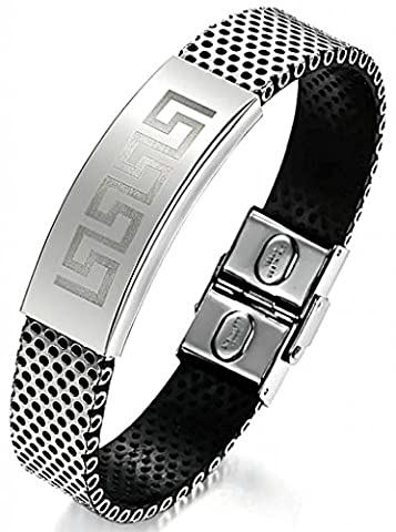 AnaZoz Fashion Jewelry Simple Personality Men's Fashion Stainless Steel Bracelet PU Leather Vintage Sculpture Buckle Black