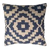 Fair Trade Kelim Kissen handgefertigt auf gewebt mit 80/20Wolle/Baumwolle und natürlichen Farbstoffen Indigo Blau, Textil, blau, 45 x 45