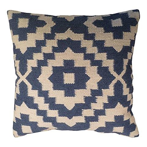 Kilim housse de coussin fait main sur la fabrication à l'aide du Commerce Équitable 80/20laine/coton et teintures naturelles Bleu Indigo, Tissu, bleu, 45 x 45