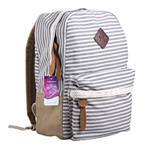 Lalawow Classic Lovely Vintage Canvas Backpack Travelling Shoulder School Bag For Teenage Girls (Grey)