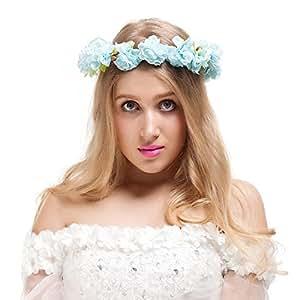 Valdler Corona Floreale Ghirlande di fiori Capelli Elegante con il Nastro Regolabile per Matrimonio Festa Viola Rosa Azzurro