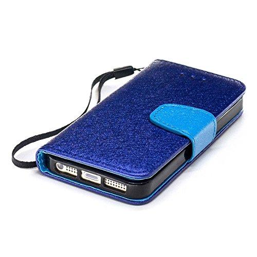 Slynmax Cover iPhone 5s iPhone SE Custodia Flip Case Pelle PU Cuoio Morbida Libro Magnetico Portafoglio Wallet Modello di Posta Design di Lusso in nero + 1* Stilo Stylus Penna Capacitiva Blue