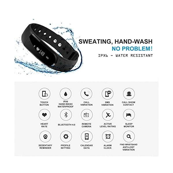 Fitness Tracker, Ritmo cardíaco inteligente actividad pulsera HR podómetro calorías deslizar pantalla táctil de… 3