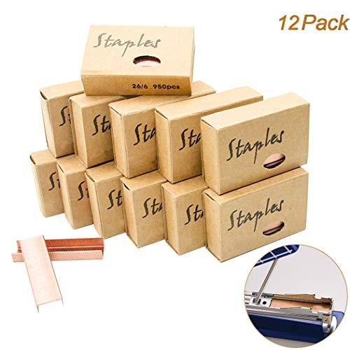 11400 Stück Premium Standard Heftklammern - Rose Gold 26/6 Heftklammern 12mm Breite 950 / Box,...