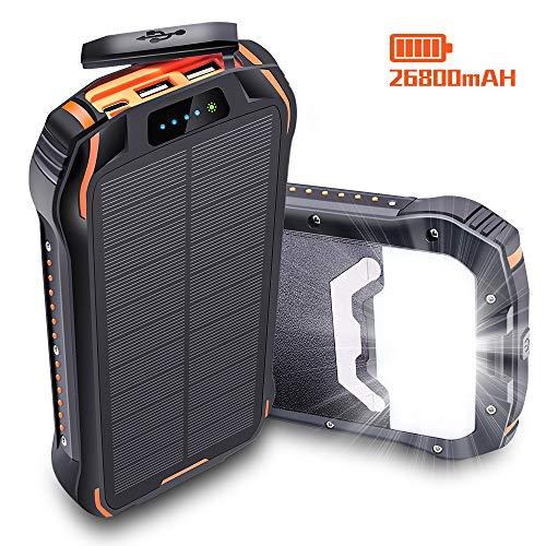 26800mAh Powerbank Solar IPX6 Externer Akku 3 Output 3.1A (2USB/Type C) 3 Input(USB 2A/Type C/Solar Panel) Solar Ladegerät LED-Licht & Hängendes Seil, Powerbank für iPhone, Samsung Galaxy, weitere -