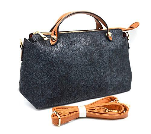 H604 - Petit Sac Bandoulière Rectangle Pointu Simili Cuir Grainé avec Poignées Bicolore - Mode Femme Bleu
