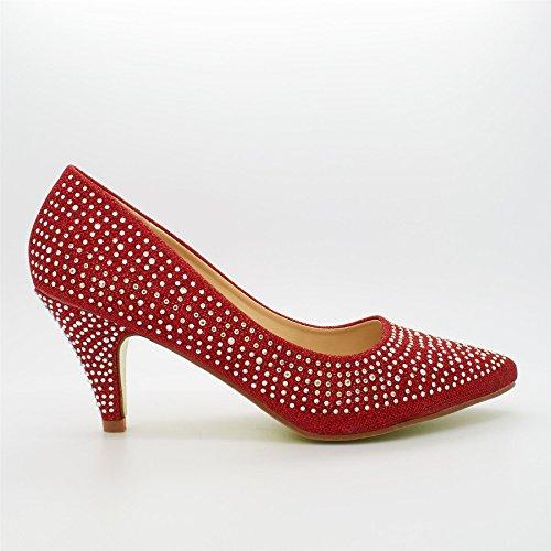 Vermelha Cunha Planalto Londres Senhoras Calçados Sandálias Com Durchgängies Salto gB8OAwq