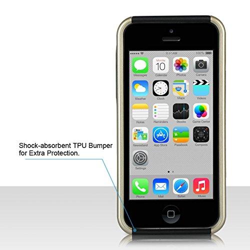 ULAK - iPhone 5C Cover, Case Cover duplice ibrido per iPhone 5C. Cover duro per iPhone 5C stampato Design PC+ Silicone ibrido impatto grande Difensore custodia Combo duro morbido Cases Covers (Blu) Armatura-Oro + Nreo