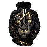 Cowesoo Mode Männer/Frauen 3D-Sweatshirts Drucken Golden Lion Lightning Hoodies